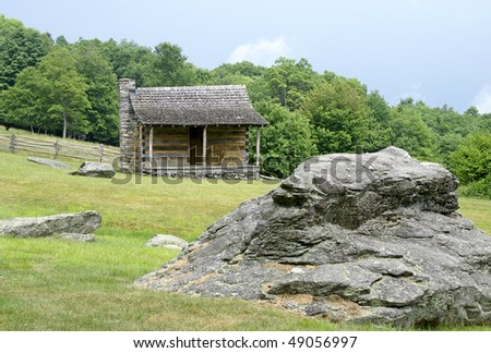Weavers Cabin, Grayson Highlands State Park, Virginia Horizontal - stock photo
