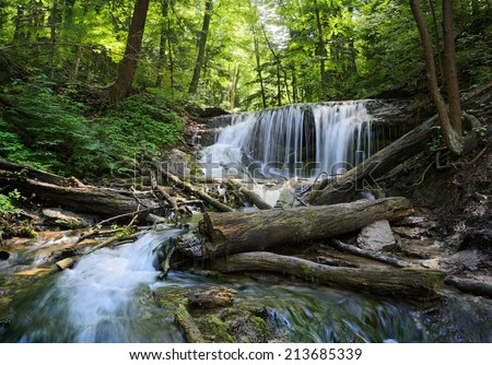Weavers Creek Falls near Owen Sound, Ontario, Canada  - stock photo