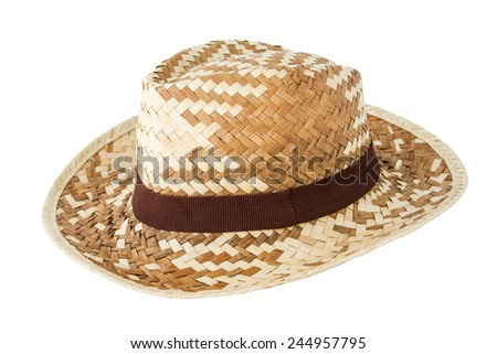 weaving bamboo hat isolate on white background