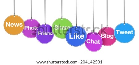 Web and Internet concept with social media and social network signs and words on colorful hanged tags isolated on white background. - stock photo