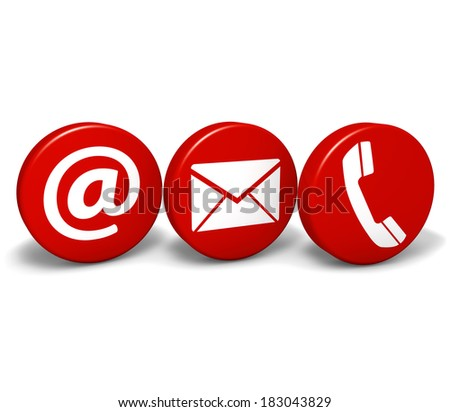 Web and Internet contact us concept with email, at and telephone icons and symbol on three red round buttons isolated on white background. - stock photo
