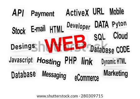 Web and other related words printed on pieces of paper. - stock photo