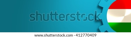 Web Banner, Header Layout Template. Gear and Hungary flag within. 3D rendering - stock photo