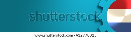 Web Banner, Header Layout Template. Gear and Netherlands flag within. 3D rendering - stock photo