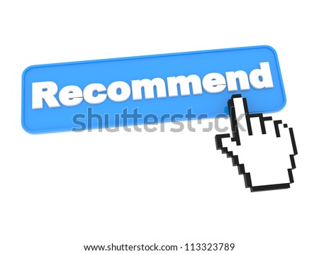 Web Button - Recommend. Isolated on White Background.
