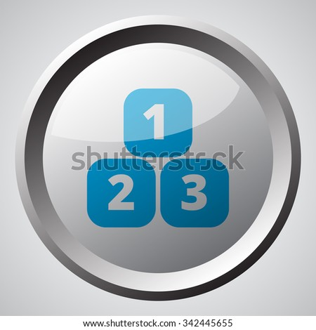 Web button with blue 123 Blocks icon  - stock photo
