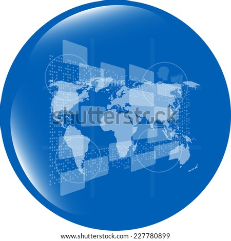 web button with earth globe icon isolated on white