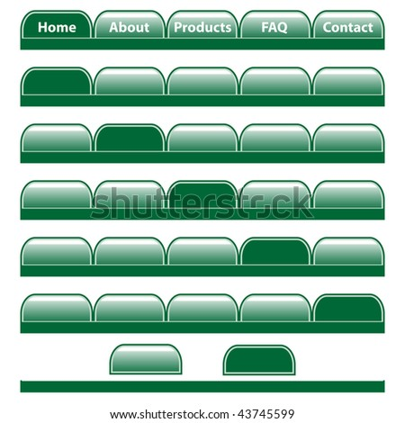 Web buttons, green navigation bars with individual blank tabs. Isolated on white. Vector also available.