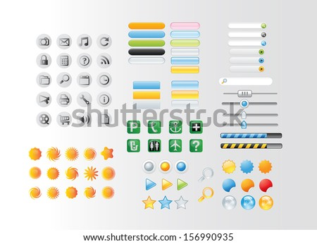 web buttons,icons and bars - stock photo
