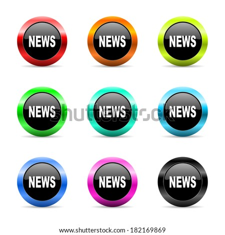 web buttons set on white background - stock photo