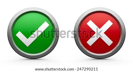 Web buttons tick & cross isolated on white background, three-dimensional rendering - stock photo