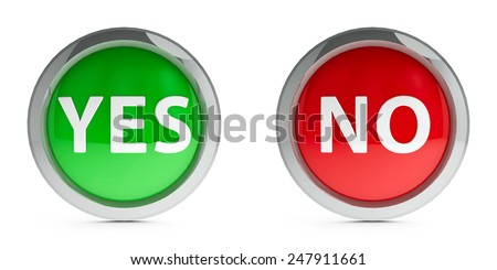 Web buttons yes & no isolated on white background, three-dimensional rendering - stock photo
