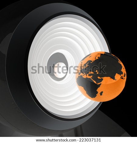 Web-cam and earth. Global on line concept on a black background - stock photo
