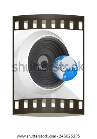 Web-cam and earth. Global on line concept on a white background. The film strip - stock photo