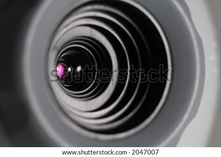 web cam close-up, concept of video chatting or video conference - stock photo
