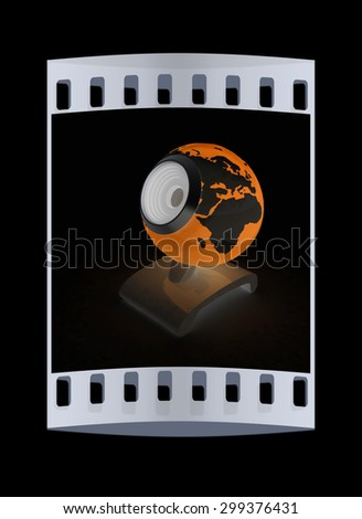Web-cam for earth.Global on line concept on a black background. The film strip - stock photo