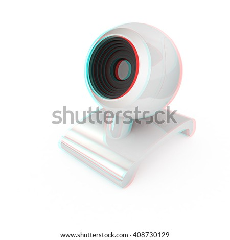 Web-cam on a white background. 3D illustration. Anaglyph. View with red/cyan glasses to see in 3D. - stock photo