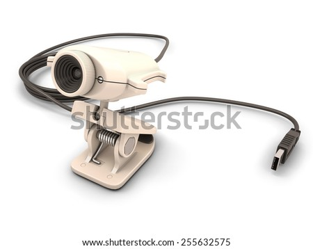 Web camera close-up isolated on a white background. 3d illustration. - stock photo