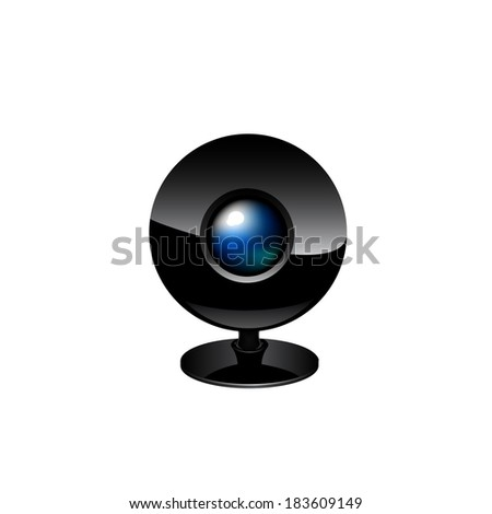 Web camera close-up isolated on a white background.  Raster copy. - stock photo