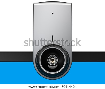 Web camera computer video communication media equipment on laptop blank blue monitor close-up front view. Internet e-learning e-business concept. Detailed render 3d image. Isolated on white background - stock photo
