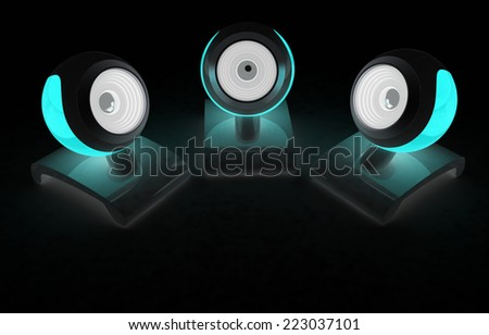 Web-cams on a black background - stock photo