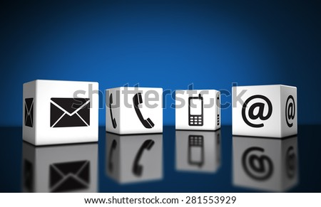 Web contact us and Internet connection concept with email, mobile phone and at icons and symbol on cubes with reflection and blue background for website, blog and on line business. - stock photo