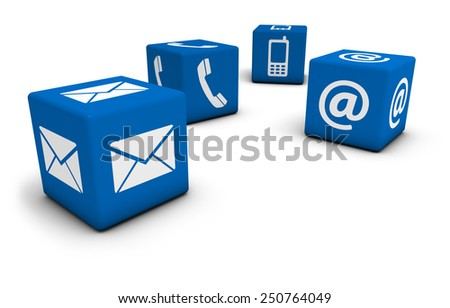 Web contact us Internet concept with email, mobile phone and at icon and symbol on four blue cubes for website, blog and on line business. - stock photo