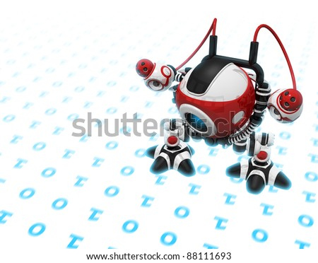 Web Crawler, Indexer Web Spider, Internet Bot, or Scutter, walking on binary code or internet info seeking out new information. The code as well as his feet are glowing with bluish lighted energy. - stock photo
