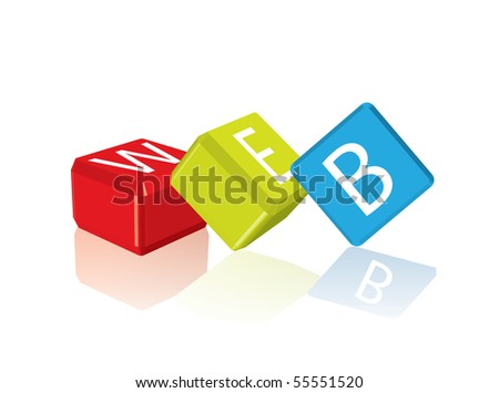 Web - cube letters (vector format in portfolio) - stock photo