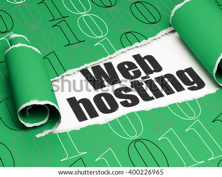 Web design concept: black text Web Hosting under the curled piece of Green torn paper with  Binary Code, 3D rendering - stock photo