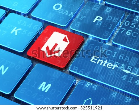 Web design concept: computer keyboard with Download icon on enter button background, 3d render - stock photo