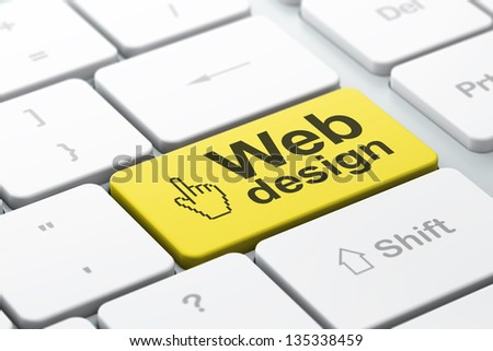 Web design concept: computer keyboard with Mouse Cursor icon and word Web Design, selected focus on enter button, 3d render - stock photo