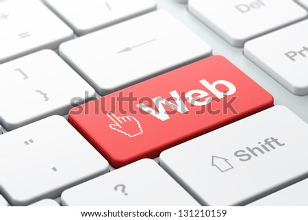 Web design concept: computer keyboard with Mouse Cursor icon and word Web, selected focus on enter button, 3d render - stock photo