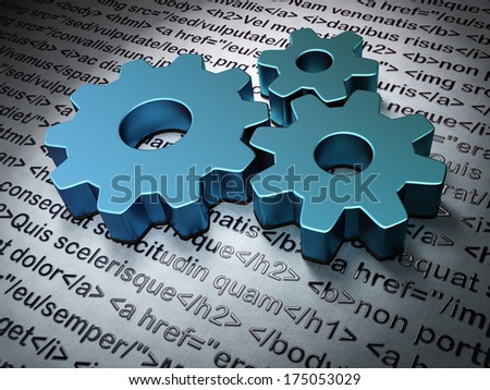 Web design concept:  Gears on Html Code background, 3d render - stock photo