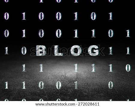 Web design concept: Glowing text Blog in grunge dark room with Dirty Floor, black background with Binary Code, 3d render - stock photo