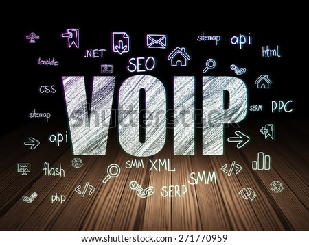 Web design concept: Glowing text VOIP,  Hand Drawn Site Development Icons in grunge dark room with Wooden Floor, black background, 3d render