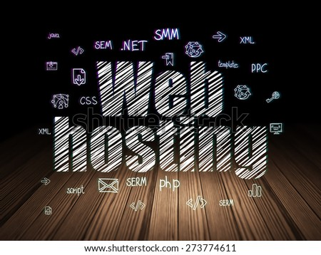 Web design concept: Glowing text Web Hosting,  Hand Drawn Site Development Icons in grunge dark room with Wooden Floor, black background, 3d render - stock photo