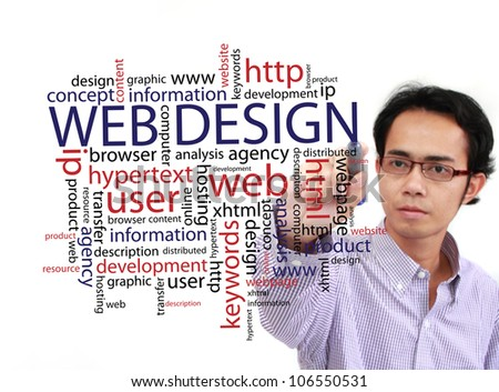 web design concept in a wordcloud and other related words, businessman writing on white board - stock photo