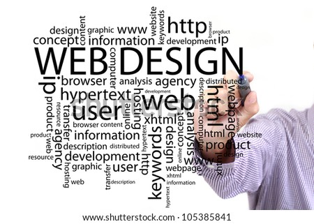 web design concept in a wordcloud and other related words,hand drawn on white board - stock photo