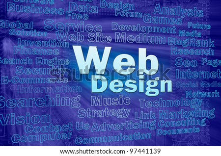 Web design concept in blue virtual space with internet related words - stock photo