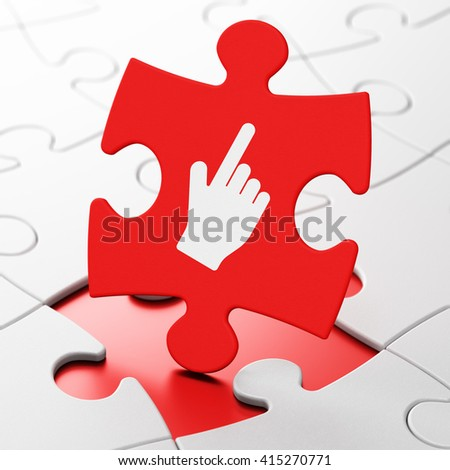 Web design concept: Mouse Cursor on Red puzzle pieces background, 3D rendering - stock photo