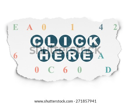 Web design concept: Painted blue text Click Here on Torn Paper background with  Hexadecimal Code, 3d render - stock photo