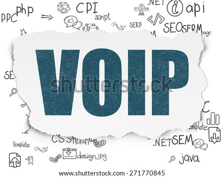 Web design concept: Painted blue text VOIP on Torn Paper background with Scheme Of Hand Drawn Site Development Icons, 3d render - stock photo