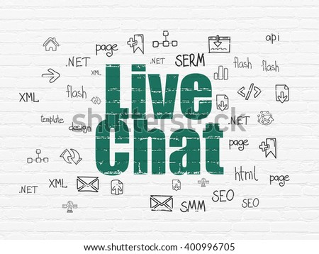 Web design concept: Painted green text Live Chat on White Brick wall background with  Hand Drawn Site Development Icons - stock photo