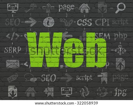Web design concept: Painted green text Web on Black Brick wall background with Scheme Of Hand Drawn Site Development Icons - stock photo