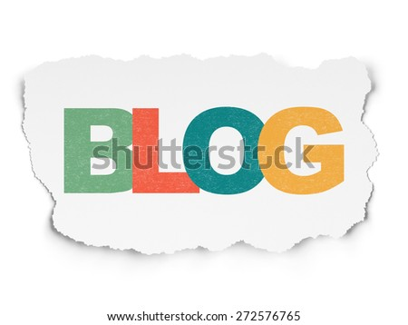 Web design concept: Painted multicolor text Blog on Torn Paper background, 3d render - stock photo