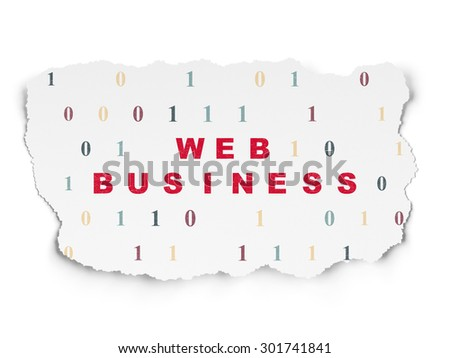 Web design concept: Painted red text Web Business on Torn Paper background with  Binary Code, 3d render - stock photo