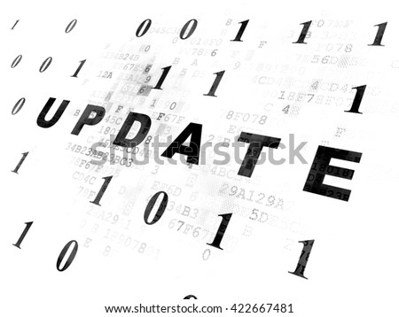 Web design concept: Pixelated black text Update on Digital wall background with Binary Code - stock photo