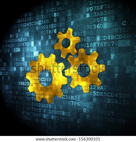 Web design concept: pixelated Gears icon on digital background, 3d render - stock photo