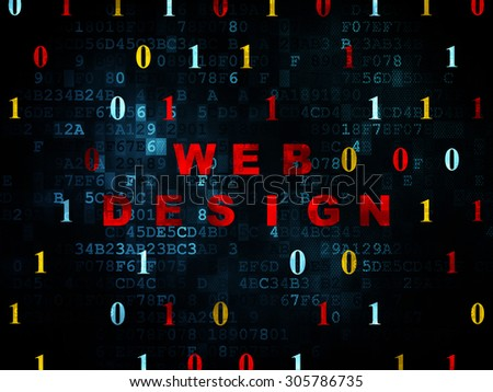Web design concept: Pixelated red text Web Design on Digital wall background with Binary Code, 3d render